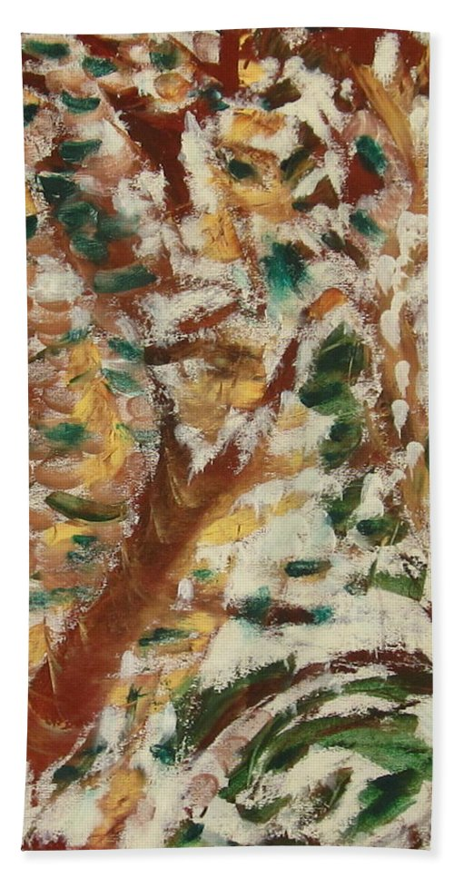 Fall Beach Towel featuring the painting Autumn Snow II by Patricia Cleasby