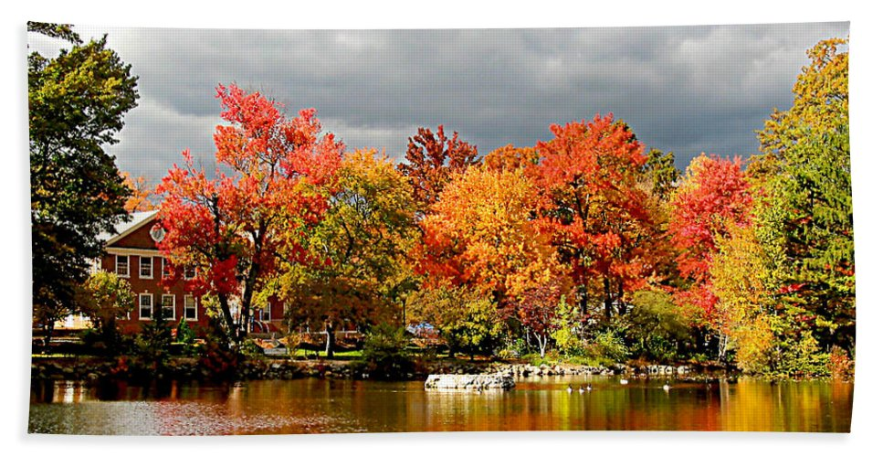 Autumn Beach Towel featuring the photograph Autumn Storm Coming by Susan Savad