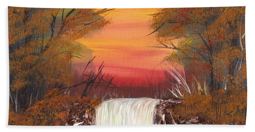 Autumn Landscape Beach Towel featuring the painting Autumn Stream by Jim Saltis