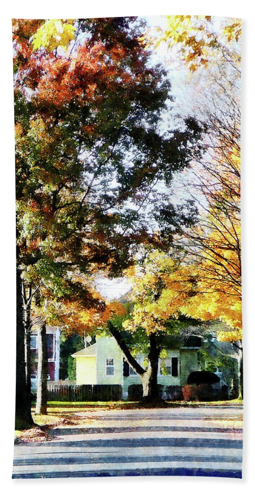 Street Beach Towel featuring the photograph Autumn Street With Yellow House by Susan Savad