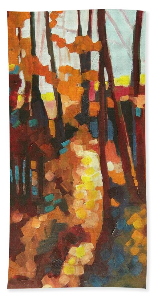 Contemporary Landscape Beach Towel featuring the painting Autumn Sunlight by Mary McInnis