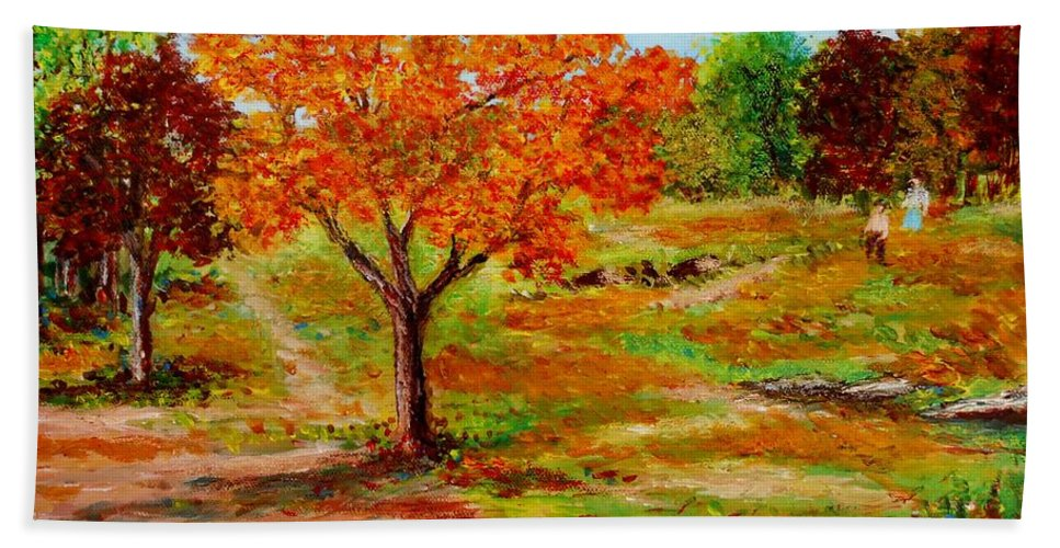 Landscapes Canvas Prints Originals Impressionism Pathways Acrylic On Canvastrees Beach Towel featuring the painting Autumn Trees by Konstantinos Charalampopoulos