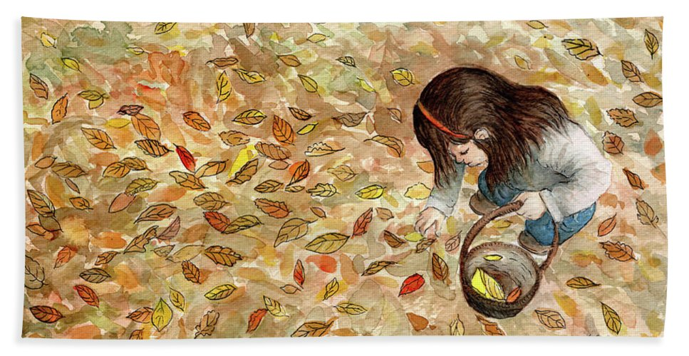 Watercolor Art Beach Towel featuring the painting Autumn by Valentina Caceres