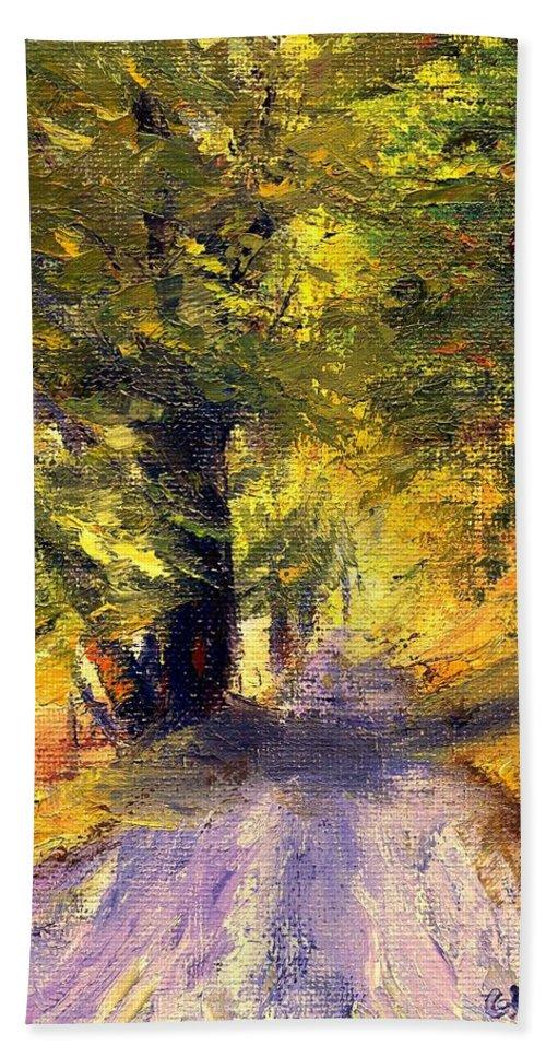 Autumn Beach Sheet featuring the painting Autumn Walk by Gail Kirtz
