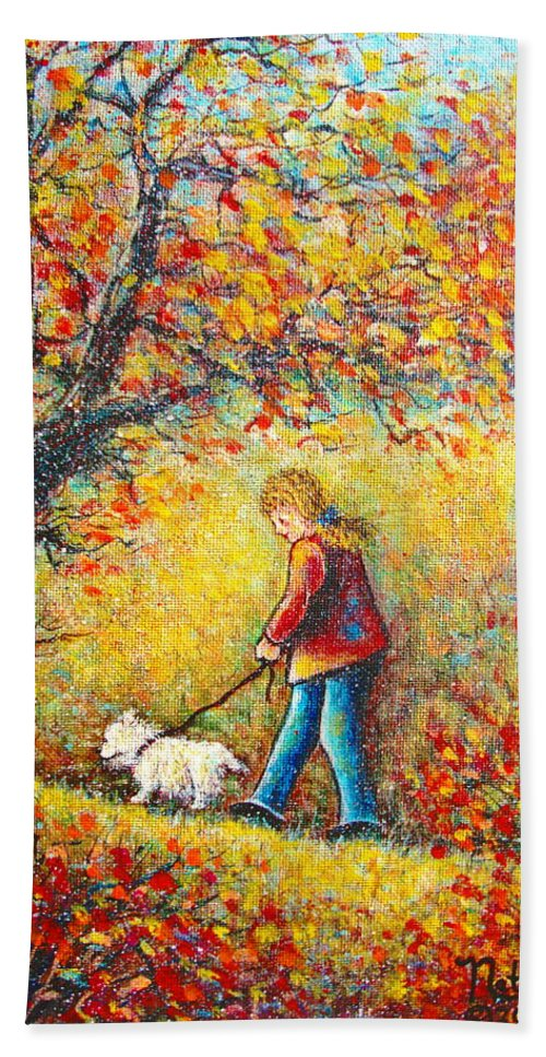 Landscape Beach Sheet featuring the painting Autumn Walk by Natalie Holland
