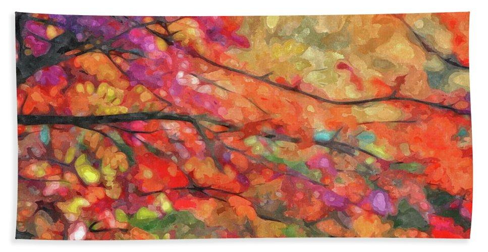 Autumn Beach Towel featuring the photograph Autumns Splendorous Canvas by Andrea Kollo