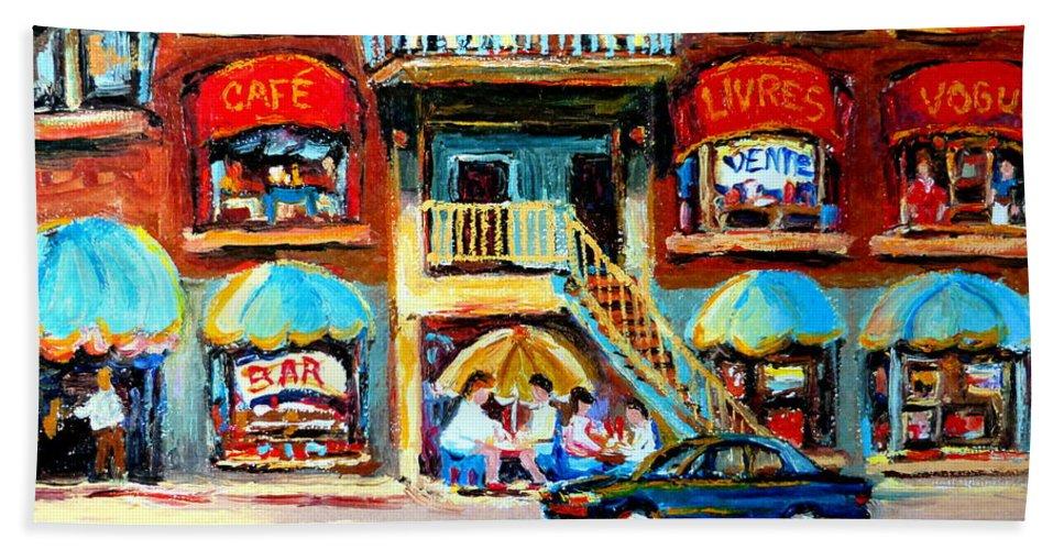 Cafes Beach Towel featuring the painting Avenue Du Parc Cafes by Carole Spandau