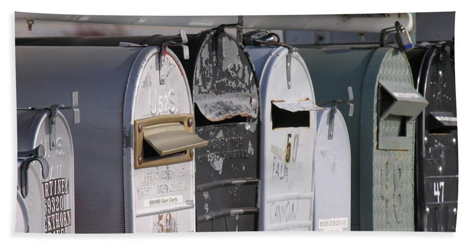 Mail Boxes Beach Towel featuring the photograph Awaiting Mail Also by Diane Greco-Lesser