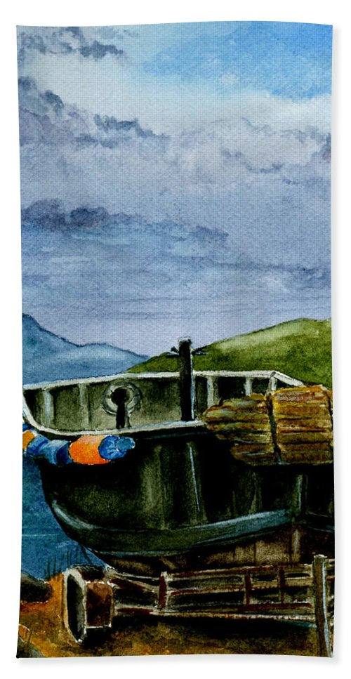 Watercolor Beach Towel featuring the painting Awaiting The Season by Brenda Owen