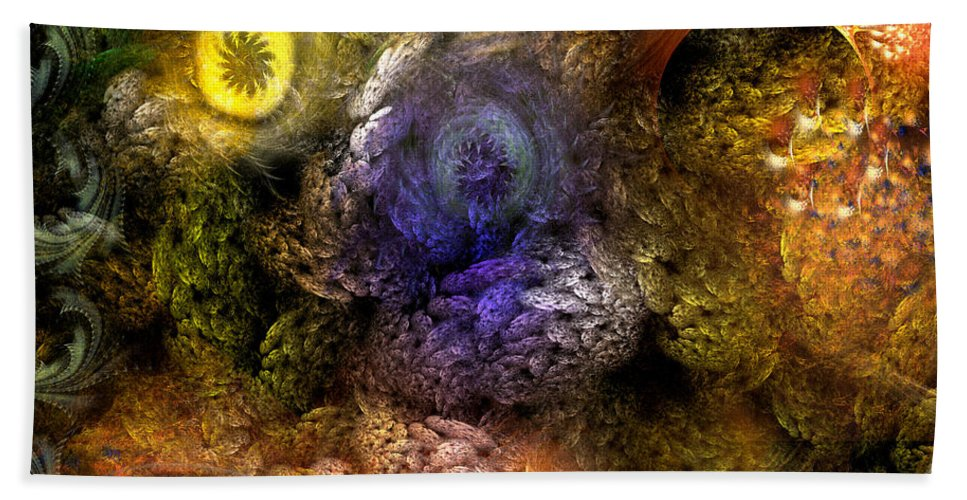 Abstract Beach Towel featuring the digital art Awakening by Casey Kotas