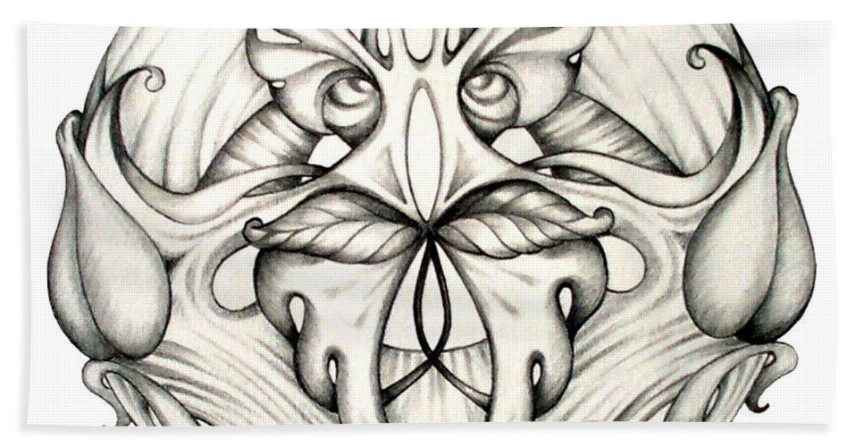 Mandala Beach Sheet featuring the drawing Awakening by Shadia Derbyshire