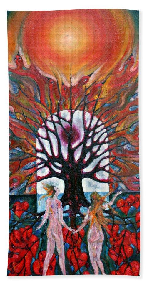 Colour Beach Towel featuring the painting Awakening by Wojtek Kowalski