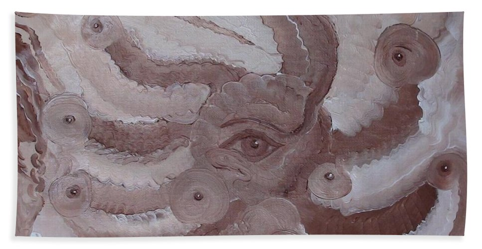 Modern Oil Painting Beach Towel featuring the painting Awareness by Georgeta Blanaru
