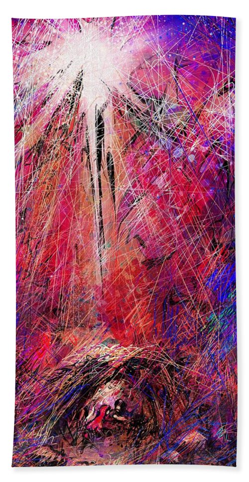 Manger Beach Towel featuring the digital art Away in a Manger by William Russell Nowicki