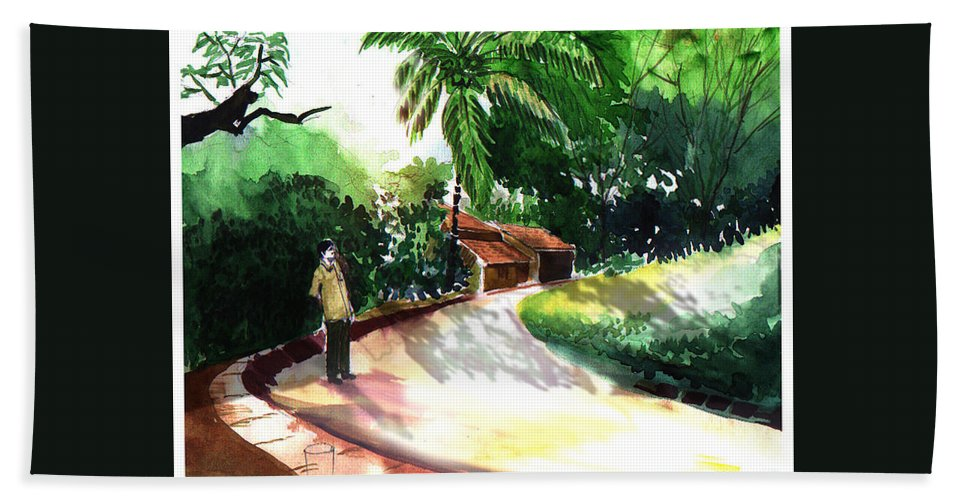 Water Color Watercolor Landscape Greenery Beach Towel featuring the painting Awe by Anil Nene