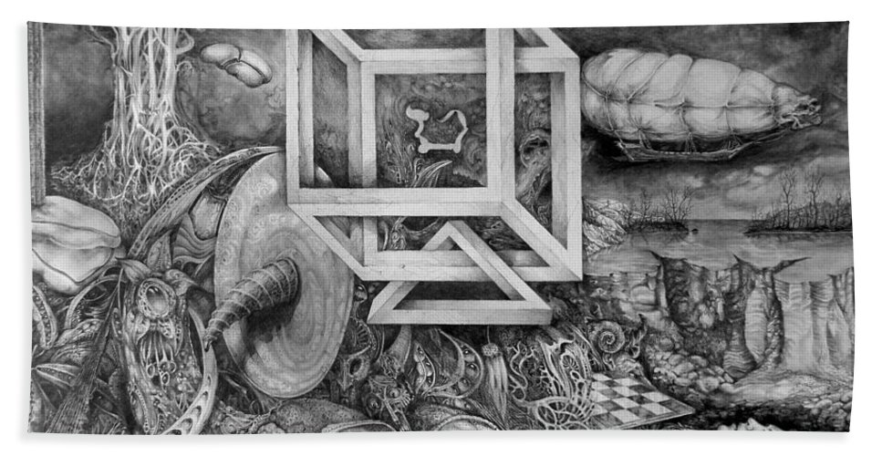 Drawing Beach Sheet featuring the drawing Axis Mundi by Otto Rapp