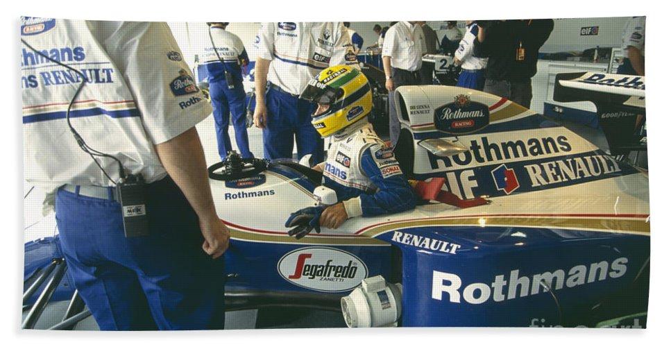 Ayrton Senna And Mechanics  1994 Pacific Grand Prix Beach Sheet