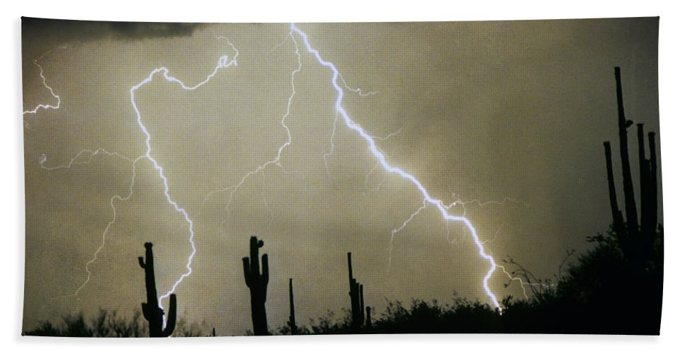 Lightning; Lightening; Chasers; Lightning Poster; Lightning Photography; Lightning Gallery; Picture Of Lightning; Lightning Storm Pictures; Lightning Photos Colorado; Pictures Of Storm Clouds And Lightning; Lightning Art; Lightn Beach Towel featuring the photograph Az Desert Storm by James BO Insogna