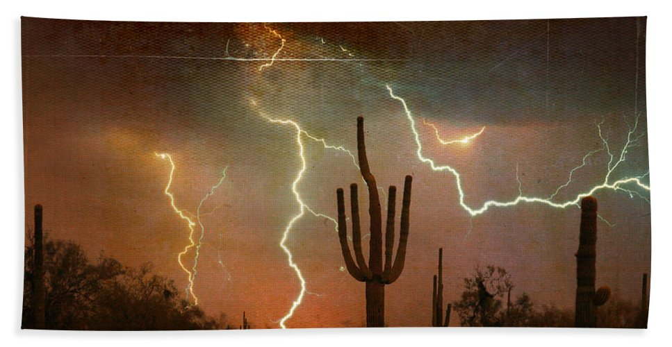 Arizona Beach Towel featuring the photograph Az Saguaro Lightning Storm by James BO Insogna