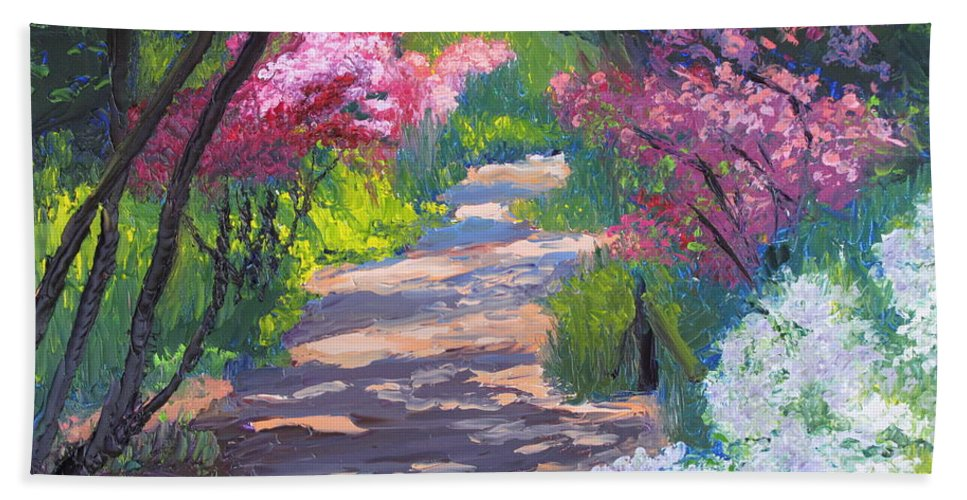 Garden Beach Towel featuring the painting Azalea Path - Sayen Gardens by Lea Novak