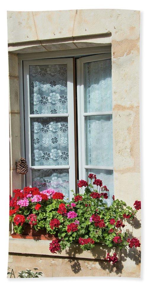 Azay Le Rideau Bridge Beach Towel featuring the photograph Azay Le Rideau Bridge, Window, Lace by Curt Rush