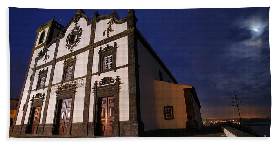 Catholic Beach Sheet featuring the photograph Azorean Church At Night by Gaspar Avila