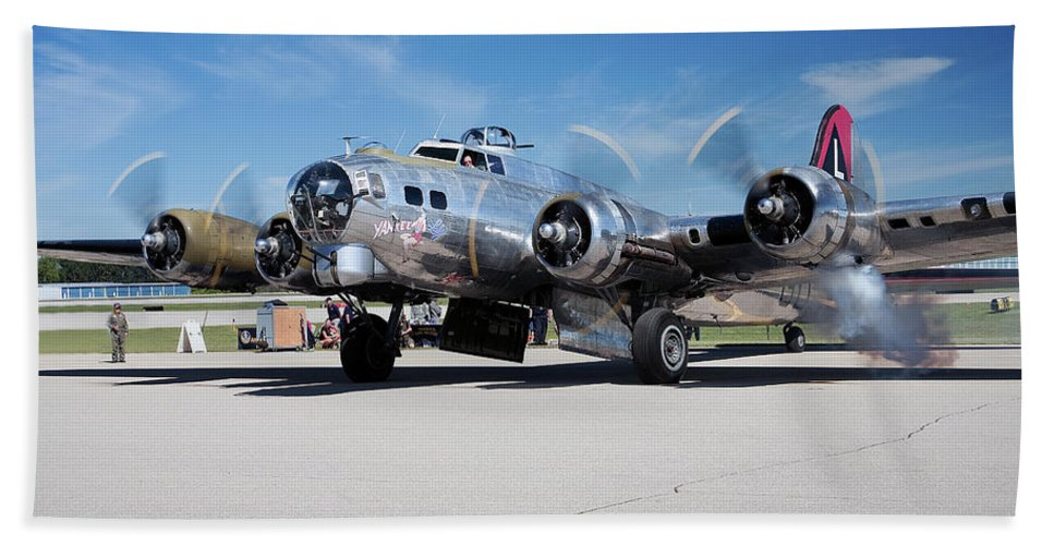 B-17 Flying Fortress Beach Towel featuring the photograph B-17 Flying Fortress, Yankee Lady by Bruce Beck