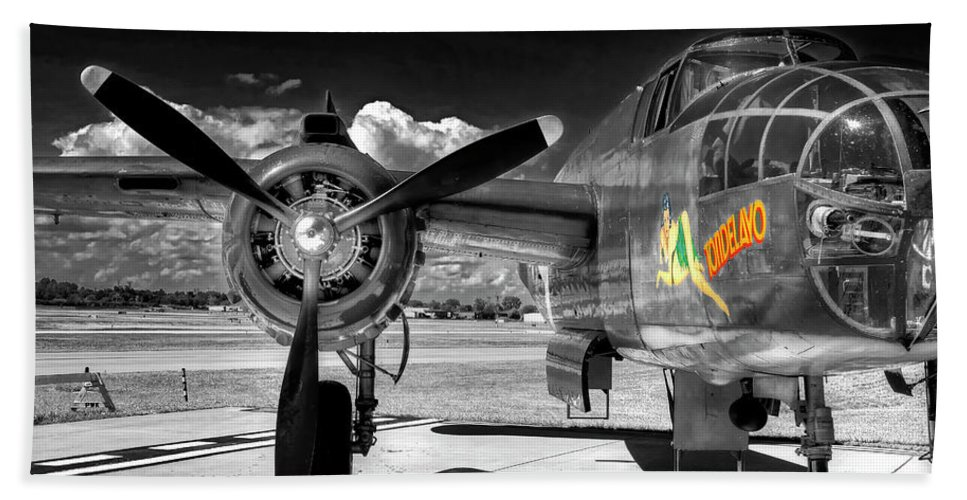 B25 Beach Towel featuring the photograph B-25 Mitchell Infrared by Robert Storost