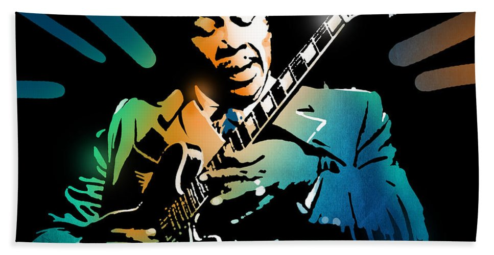 Blues Beach Towel featuring the painting B B King by Paul Sachtleben