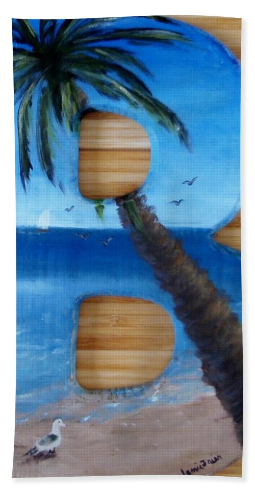 B Beach Towel featuring the painting B For Brooke by Jamie Frier