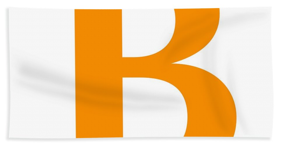B Beach Towel featuring the digital art B In Tangerine Typewriter Style by Custom Home Fashions