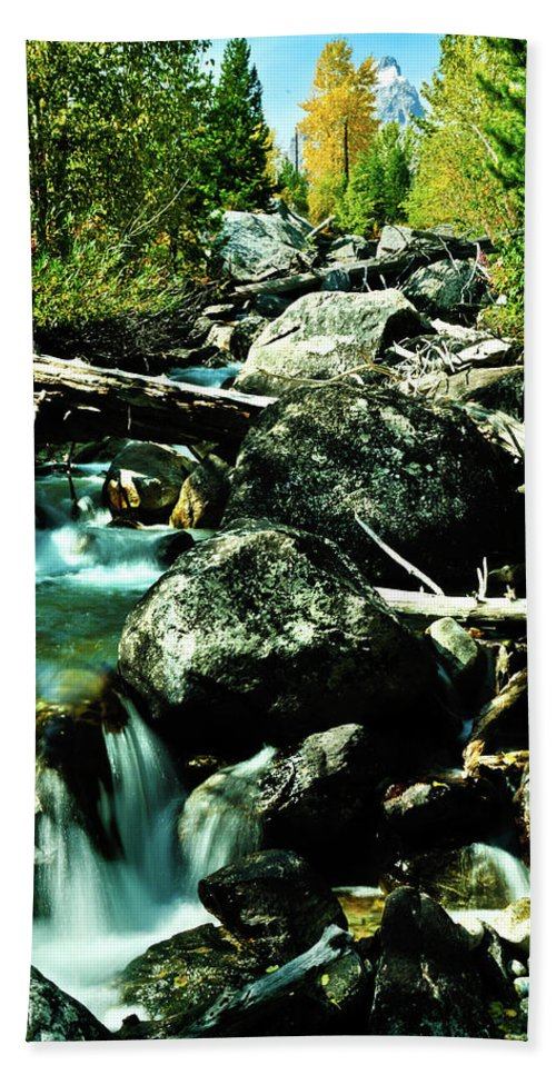 Brook Beach Towel featuring the photograph Babbling Brook by Greg Norrell