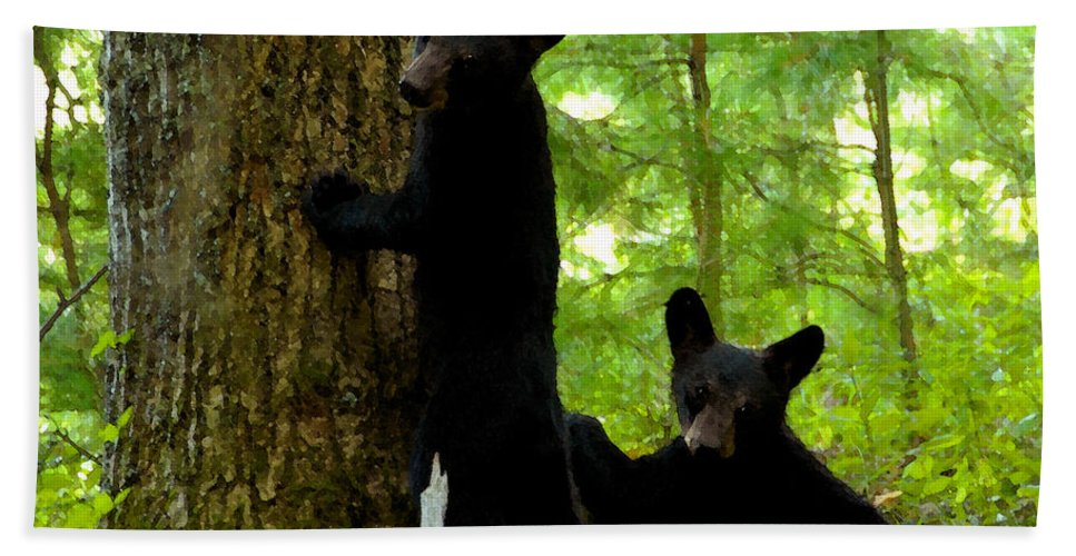 Art Beach Towel featuring the painting Babes In The Wood by David Lee Thompson