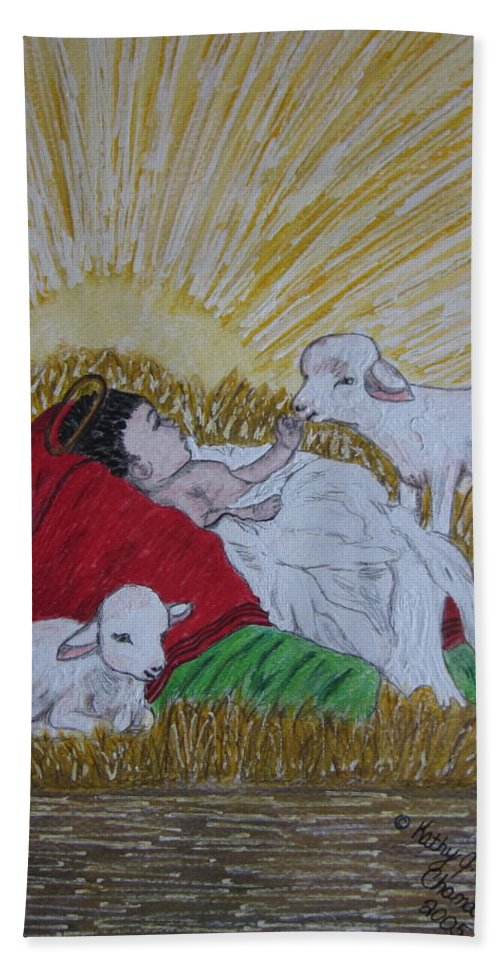 Saviour Beach Towel featuring the painting Baby Jesus At Birth by Kathy Marrs Chandler