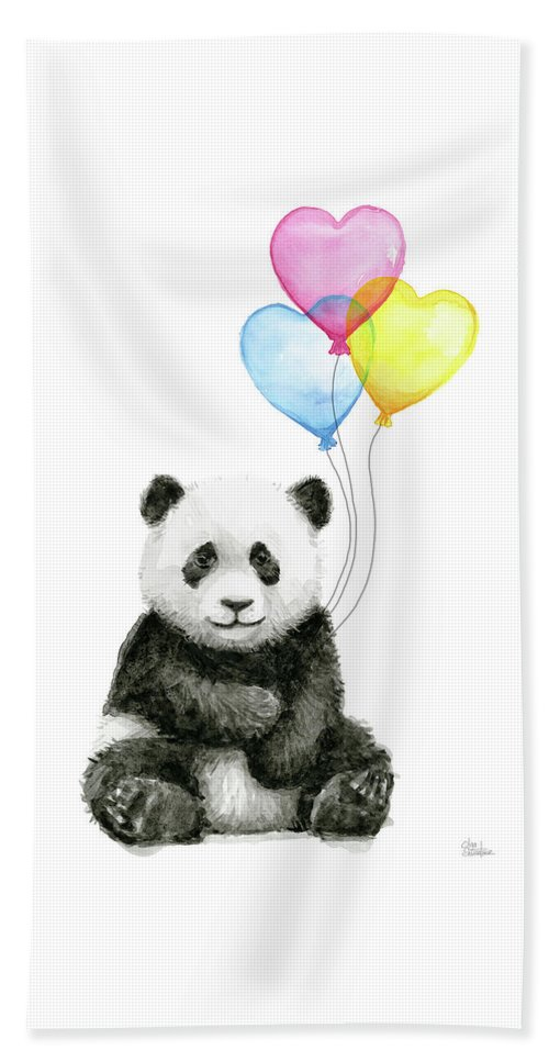 Baby Panda Beach Towel featuring the painting Baby Panda With Heart-shaped Balloons by Olga Shvartsur