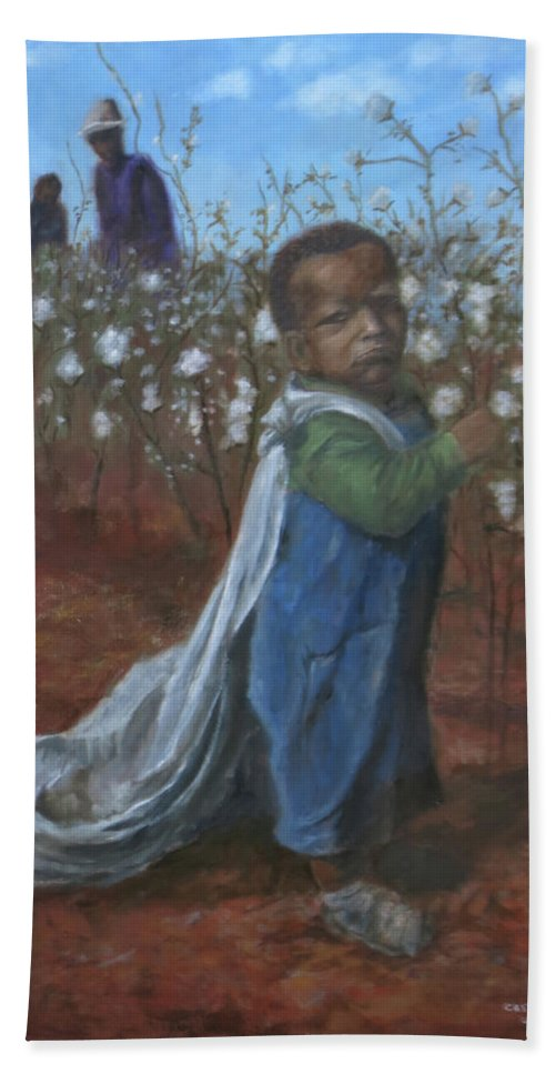 Black Baby Beach Towel featuring the painting Baby Picking Cotton by Sylvia Castellanos