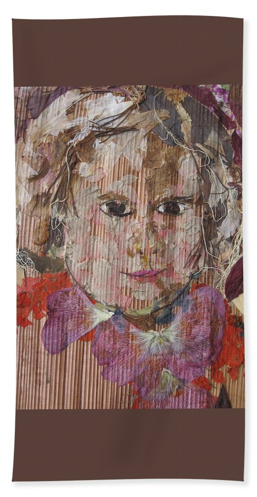 Portrait Beach Towel featuring the mixed media Baby Smiling Yet To Start by Basant Soni