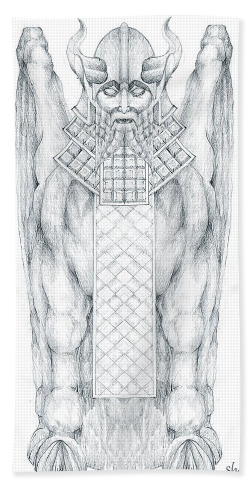 Babylonian Beach Towel featuring the drawing Babylonian Sphinx Lamassu by Curtiss Shaffer
