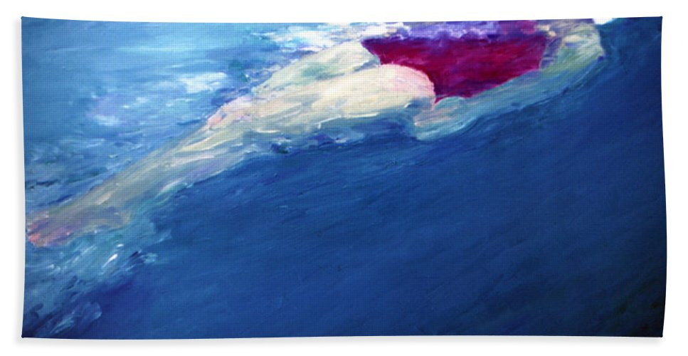 Water Beach Towel featuring the painting Backfloat by Lisa Baack