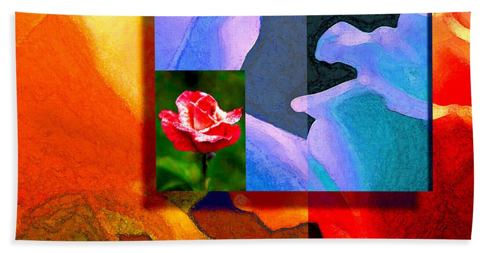 Modern Beach Sheet featuring the digital art Backlit Roses by Stephen Lucas