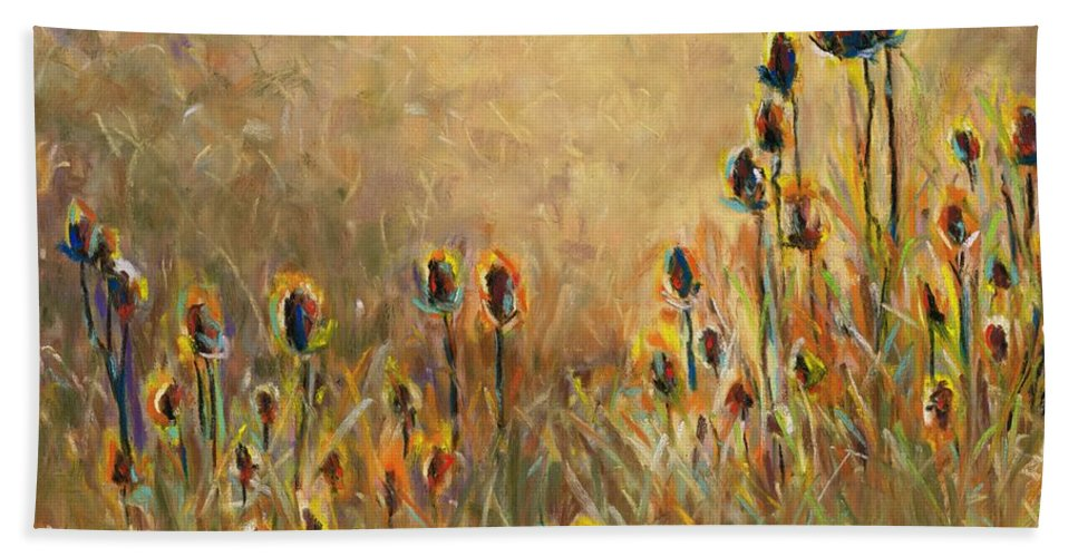 Thistle Beach Towel featuring the painting Backlit Thistle by Frances Marino