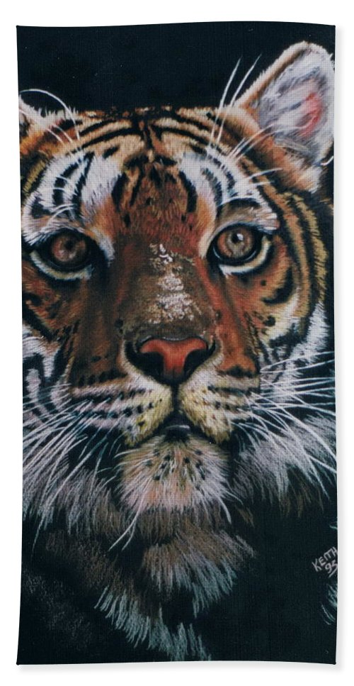 Tiger Beach Towel featuring the drawing Backlit Tiger by Barbara Keith