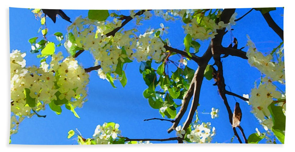 Tree Blossoms Beach Sheet featuring the painting Backlit White Tree Blossoms by Amy Vangsgard
