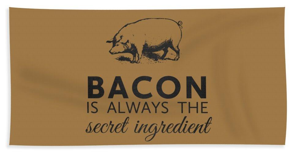 Bacon Beach Towel featuring the digital art Bacon is Always the Secret Ingredient by Nancy Ingersoll