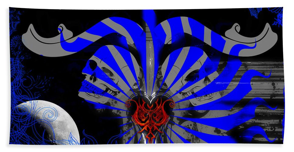 Skulls Beach Towel featuring the digital art Bad To The Bone by Michael Damiani