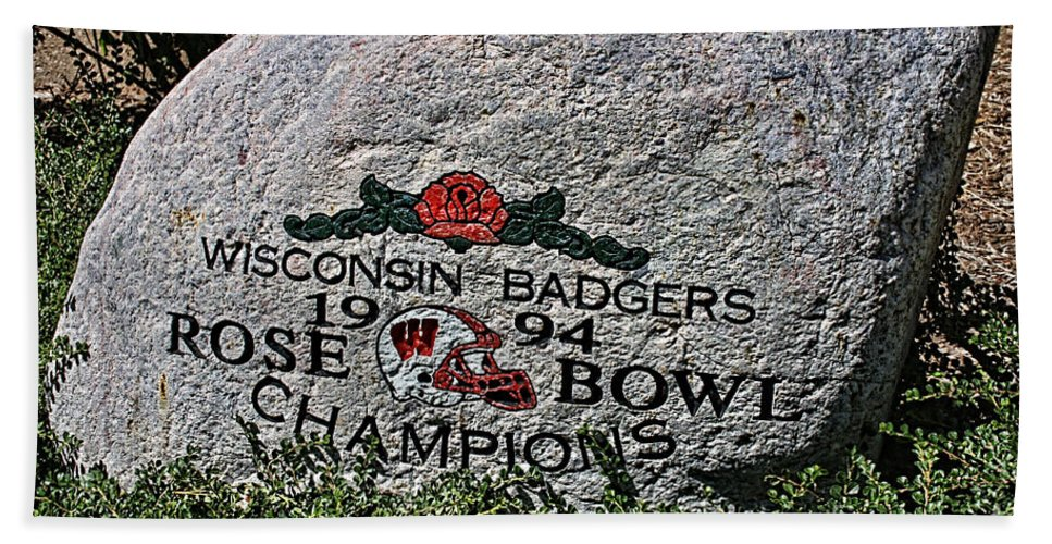 Camp Randall Beach Towel featuring the photograph Badgers Rose Bowl Win 1994 by Tommy Anderson