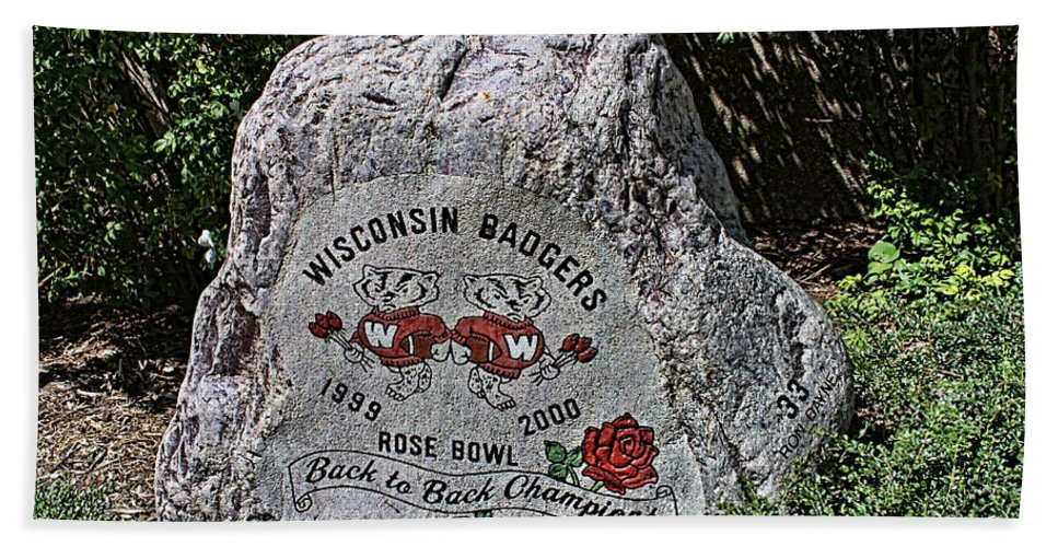 Camp Randall Beach Towel featuring the photograph Badgers Rose Bowl Win 2000 by Tommy Anderson