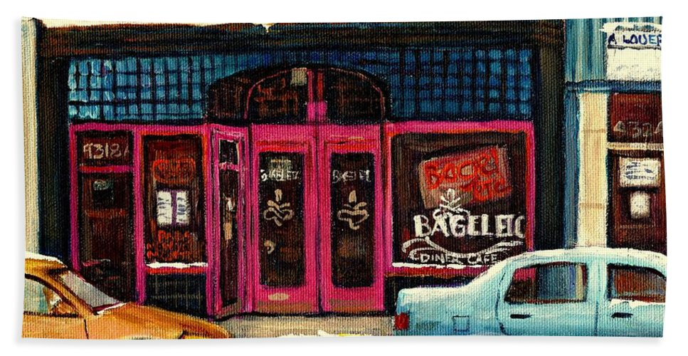 Bagels Etc.montreal Beach Towel featuring the painting Bagels Etc Montreal by Carole Spandau