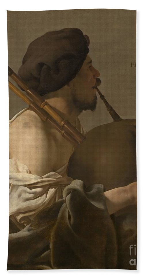 Beach Towel featuring the painting Bagpipe Player by Hendrick Ter Brugghen