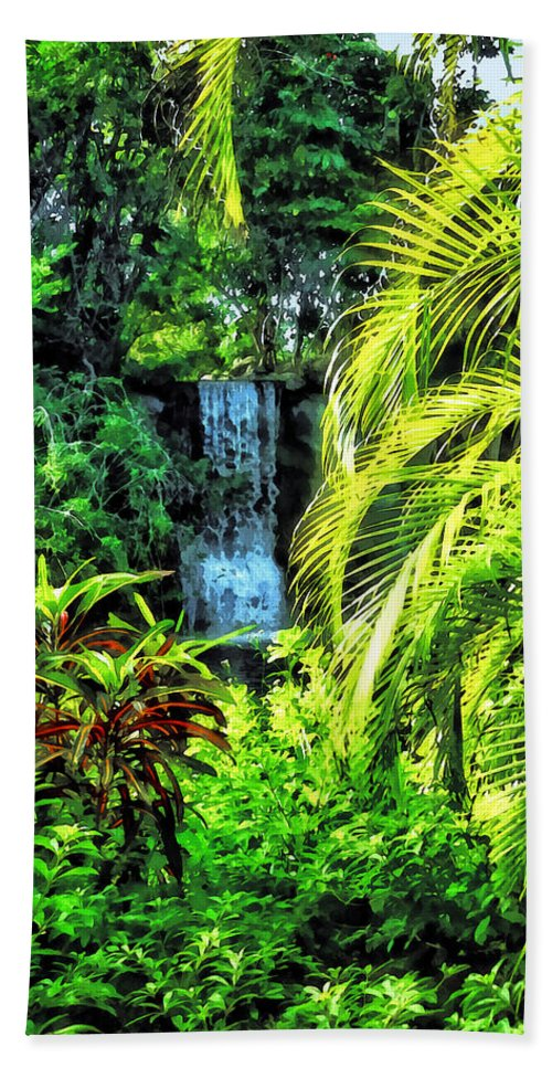 Bahamas Beach Towel featuring the photograph Bahamas - Tropical Waterfall by Susan Savad